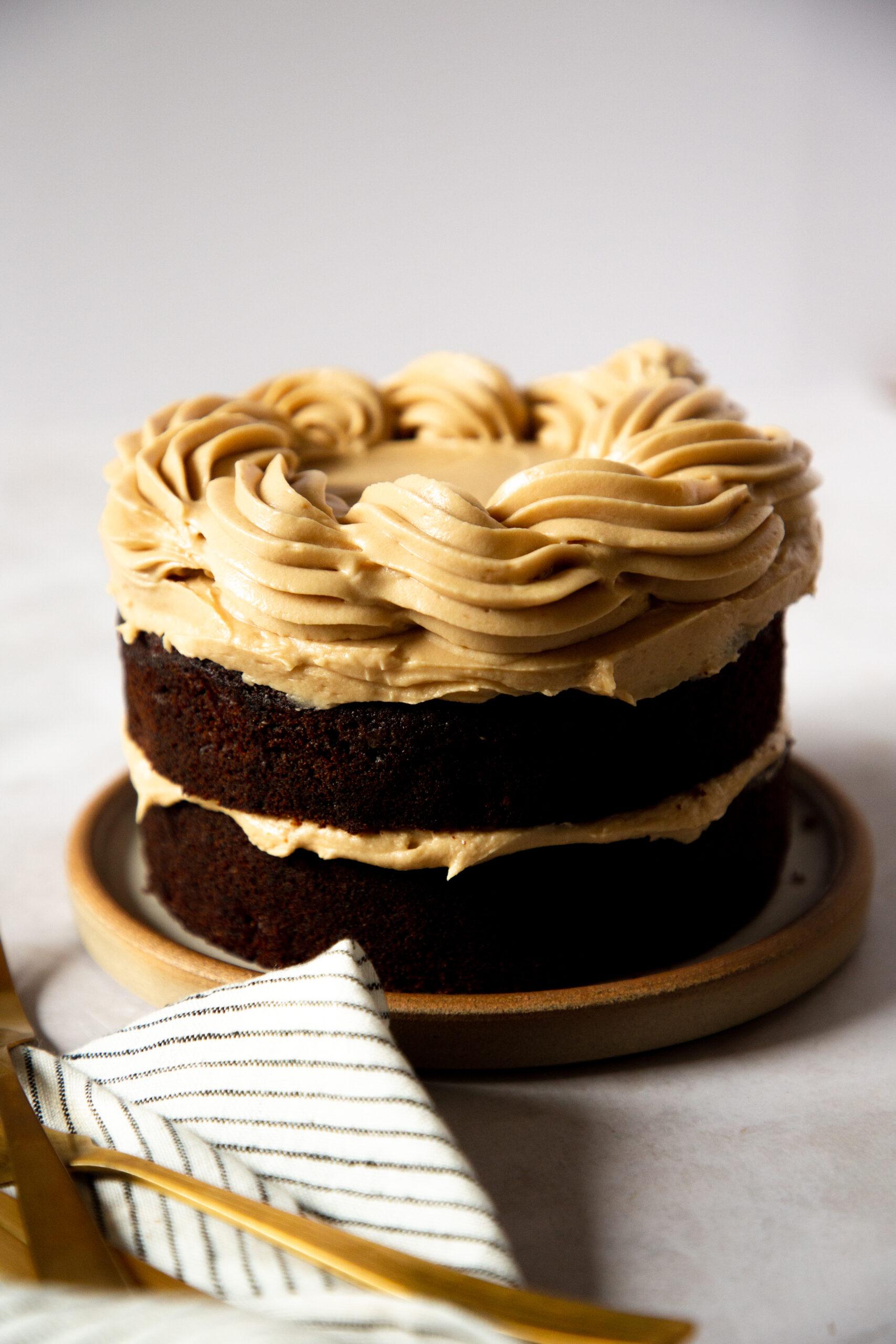 Caramelised banana and coffee cake